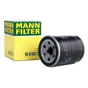 W 610/3 MANN-FILTER mit einem Rücklaufsperrventil Innendurchmesser 2: 54mm, Ø: 66mm, Außendurchmesser 2: 62mm, Höhe: 90mm Ölfilter W 610/3 günstig kaufen