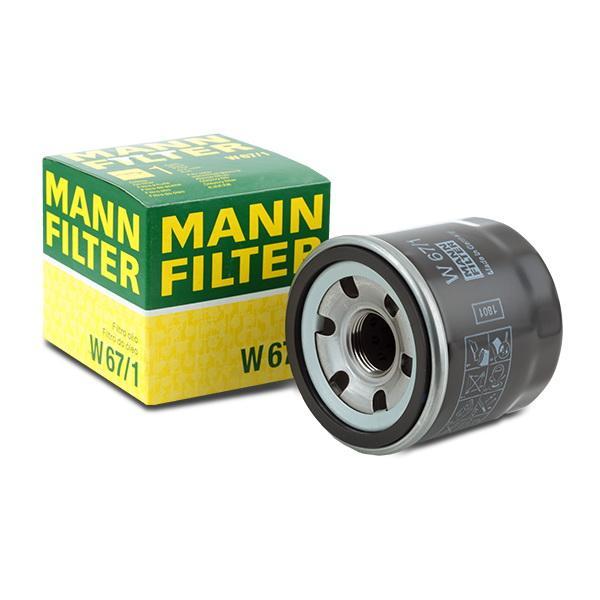 W671 Oliefilter MANN-FILTER W 67/1 - Stort udvalg — stærkt reduceret