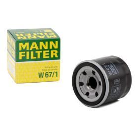 Comprare W 67/1 MANN-FILTER con una valvola blocco arretramento Diametro interno 2: 54mm, Ø: 66mm, Diametro esterno 1: 62mm, Alt.: 65mm Filtro olio W 67/1 poco costoso