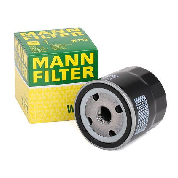 Origine Filtre à huile MANN-FILTER W 712 (Diamètre intérieur 2: 62mm, Diamètre intérieur 2: 62mm, Ø: 76mm, Diamètre extérieur 2: 71mm, Hauteur: 79mm)