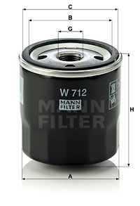 W 712 Oliefilter MANN-FILTER originele kwaliteit