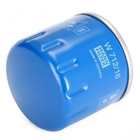 Comprare W 712/16 MANN-FILTER con una valvola blocco arretramento Diametro interno 2: 62mm, Ø: 76mm, Diametro esterno 1: 71mm, Alt.: 74mm Filtro olio W 712/16 poco costoso