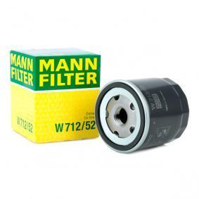 W 712/52 MANN-FILTER Met een terugloopbeveiligingskleppen Binnendiameter 2: 62mm, Ø: 76mm, Buitendiameter 2: 71mm, Hoogte: 92mm Oliefilter W 712/52 koop goedkoop