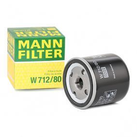 W 712/80 MANN-FILTER med en backsperrventil Innerdiameter 2: 62mm, Ø: 76mm, Ytterdiameter 2: 71mm, H: 80mm Oljefilter W 712/80 köp lågt pris