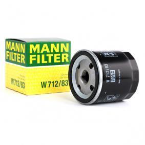 Pirkti W 712/83 MANN-FILTER su vienu negrįžtamo srauto vožtuvu vidinis skersmuo 2: 63mm, Ø: 76mm, 2 išorinis skersmuo: 72mm, aukštis: 79mm Alyvos filtras W 712/83 nebrangu