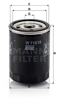W 713/18 MANN-FILTER Skruvfilter Innerdiameter 2: 62mm, Ø: 76mm, Ytterdiameter 2: 71mm, H: 100mm Oljefilter W 713/18 köp lågt pris