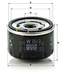 W 75/3 Oliefilter MANN-FILTER originele kwaliteit