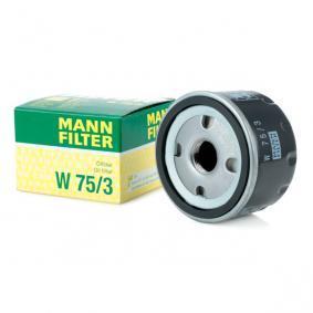 W 75/3 MANN-FILTER con válvula bloqueo de retorno Diám. int. 2: 62mm, Ø: 76mm, Diámetro exterior 2: 71mm, Altura: 50mm Filtro de aceite W 75/3 a buen precio