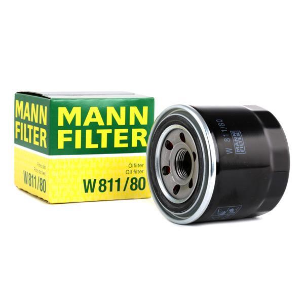 W 811/80 MANN-FILTER Opschroeffilter, Met een terugloopbeveiligingskleppen Binnendiameter 2: 57mm, Ø: 80mm, Buitendiameter 2: 65mm, Hoogte: 75mm Oliefilter W 811/80 koop goedkoop