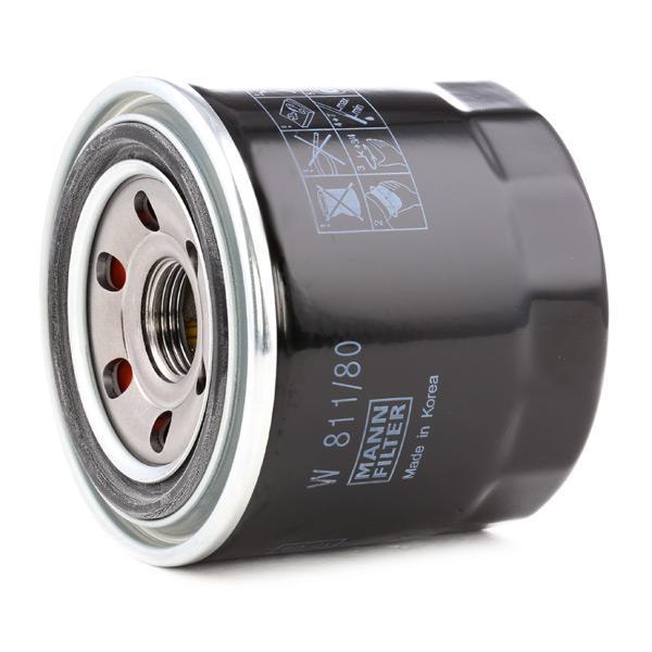 Hyundai GETZ 2010 Oil filter MANN-FILTER W 811/80: Screw-on Filter, with one anti-return valve