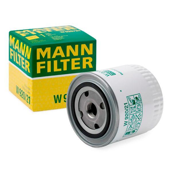 Pieces d'origine: Filtre à huile MANN-FILTER W 920/21 (Diamètre intérieur 2: 62mm, Diamètre intérieur 2: 62mm, Ø: 93mm, Diamètre extérieur 2: 71mm, Hauteur: 95mm) - Achetez tout de suite!