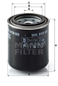 MANN-FILTER Palivovy filtr WK 818/80 - nakupujte s 34% slevou