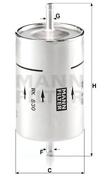Car spare parts ALFA ROMEO 90 1987: Fuel filter MANN-FILTER WK 830 at a discount — buy now!
