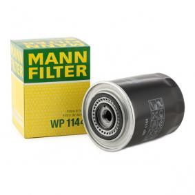 Pirkti WP 1144 MANN-FILTER su vienu negrįžtamo srauto vožtuvu vidinis skersmuo 2: 63mm, Ø: 108mm, 2 išorinis skersmuo: 72mm, aukštis: 145mm Alyvos filtras WP 1144 nebrangu