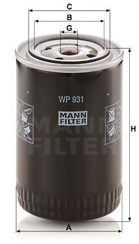 Comprar piezas de recambios originales MANN-FILTER WP 931