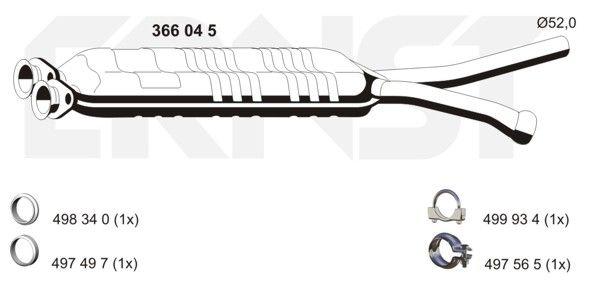 Original MERCEDES-BENZ Mittelschalldämpfer Attrappe 366045