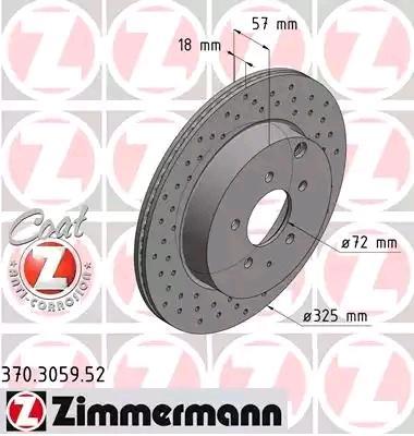 MAZDA CX-7 2014 Tuning - Original ZIMMERMANN 370.3059.52 Ø: 325mm, Felge: 5-loch, Bremsscheibendicke: 18mm