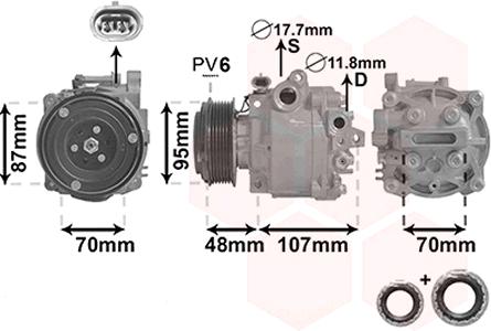 VAN WEZEL: Original Klimakompressor 3700K659 (Riemenscheiben-Ø: 95mm, Anzahl der Rillen: 6)