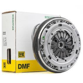 Купете 417 0019 11 LuK DFC за двигатели с двумасов маховик, без насочващ лагер, с маховик, с комплект винтове, двумасов маховик с диск за контрол на фрикцията вид на монтаж: монтиран предварително Комплект съединител 417 0019 11 евтино