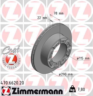 470.6620.20 ZIMMERMANN COAT Z Innenbelüftet, beschichtet Ø: 290mm, Felge: 5-loch, Bremsscheibendicke: 22mm Bremsscheibe 470.6620.20 günstig kaufen