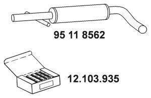 Original Främre ljuddämpare 95 11 8562 Seat