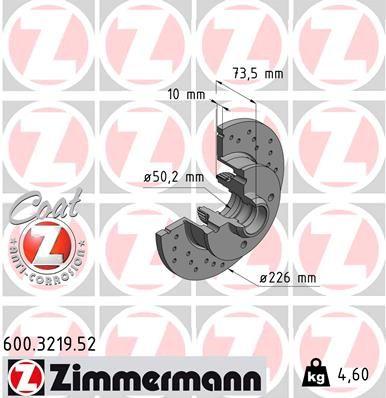 600.3219.52 ZIMMERMANN SPORT COAT Z Gelocht, Voll, beschichtet, mit ABS-Sensorring, ohne Radlager Ø: 226mm, Felge: 4-loch, Bremsscheibendicke: 10mm Bremsscheibe 600.3219.52 günstig kaufen
