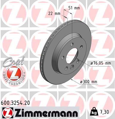 Achetez Disques de frein ZIMMERMANN 600.3254.20 (Ø: 300mm, Jante: 5Trou, Épaisseur du disque de frein: 22mm) à un rapport qualité-prix exceptionnel