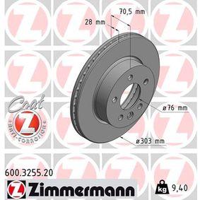 600.3255.20 ZIMMERMANN COAT Z Innenbelüftet, beschichtet, hochgekohlt Ø: 303mm, Lochanzahl: 5, Bremsscheibendicke: 28mm Bremsscheibe 600.3255.20 günstig kaufen