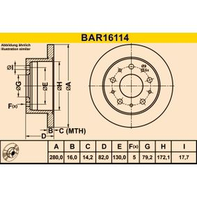 Disco freno BAR16114 BARUM Pagamento sicuro — Solo ricambi nuovi