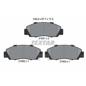 Jogo de pastilhas para travão de disco 2165101 com uma excecional TEXTAR relação preço-desempenho