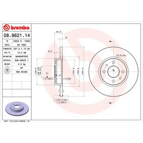 Compre e substitua Disco de travão BREMBO 08.9621.14