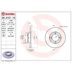 Disque de frein 08.A151.10 BREMBO Paiement sécurisé — seulement des pièces neuves