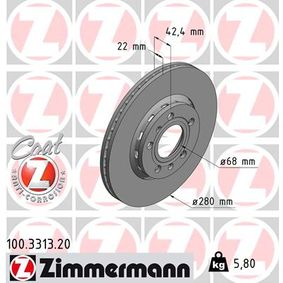 Brake Disc 100.3313.20 ZIMMERMANN Secure payment — only new parts