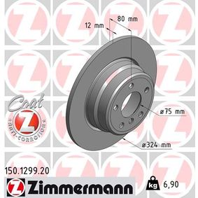 Brake Disc 150.1299.20 with an exceptional ZIMMERMANN price-performance ratio