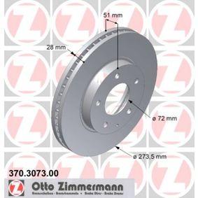 Disque de frein 370.3073.00 ZIMMERMANN Paiement sécurisé — seulement des pièces neuves
