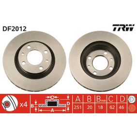 Disco de travão DF2012 para SEAT preços baixos - Compre agora!