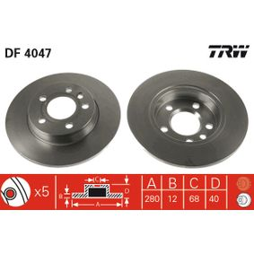 Bromsskiva DF4047 som är helt TRW otroligt kostnadseffektivt