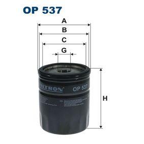 Filtro de óleo OP537 com uma excecional FILTRON relação preço-desempenho