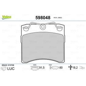 VALEO Kit pastiglie freno, Freno a disco 598048