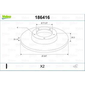 Disco de travão 186416 VALEO Pagamento seguro — apenas peças novas