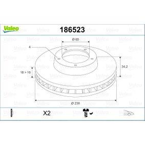 Disco de travão 186523 VALEO Pagamento seguro — apenas peças novas