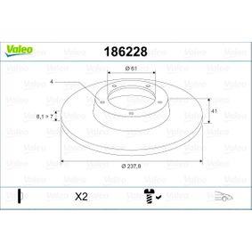 Bromsskiva 186228 VALEO Säker betalning — bara nya delar