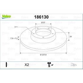 Disco de travão 186130 VALEO Pagamento seguro — apenas peças novas
