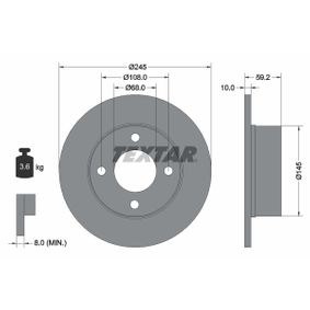 Brake Disc 92026100 TEXTAR Secure payment — only new parts
