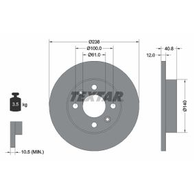 Disco de travão 92036103 TEXTAR Pagamento seguro — apenas peças novas