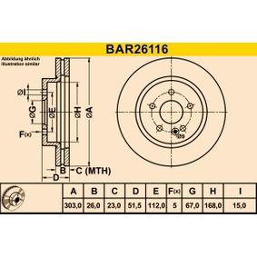 Disco de travão BAR26116 com uma excecional BARUM relação preço-desempenho