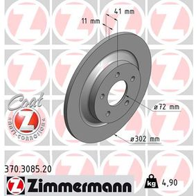 Brake Disc 370.3085.20 ZIMMERMANN Secure payment — only new parts