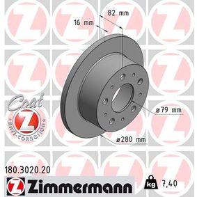 Disco freno 180.3020.20 con un ottimo rapporto ZIMMERMANN qualità/prezzo
