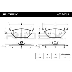 402B0019 Bremsbelagsatz, Scheibenbremse RIDEX - Große Auswahl - stark reduziert