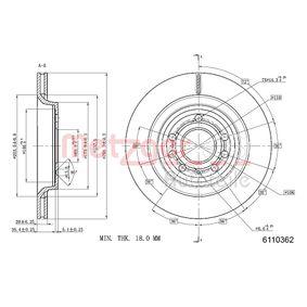 Disco freno METZGER 6110362 comprare e sostituisci
